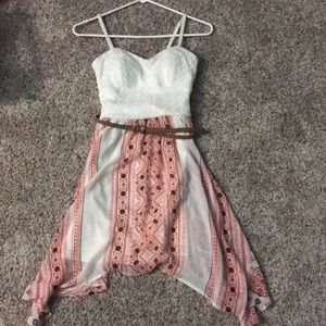 White and pink dress with brown belt